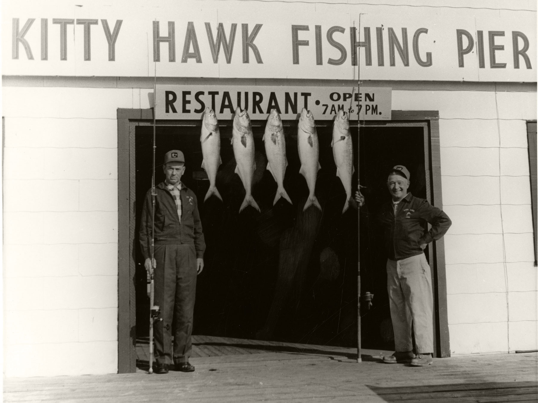 Bluefish caught on The Kitty Hawk Pier | Photo by Aycock Brown, Outer Banks History Center